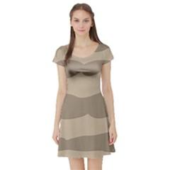Pattern Wave Beige Brown Short Sleeve Skater Dress