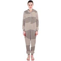 Pattern Wave Beige Brown Hooded Jumpsuit (ladies)