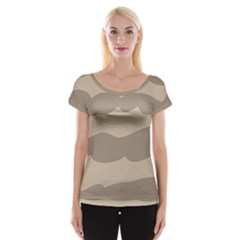 Pattern Wave Beige Brown Women s Cap Sleeve Top