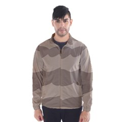 Pattern Wave Beige Brown Wind Breaker (men)