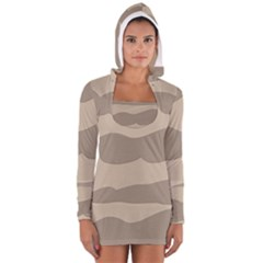 Pattern Wave Beige Brown Women s Long Sleeve Hooded T-shirt