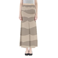 Pattern Wave Beige Brown Maxi Skirts