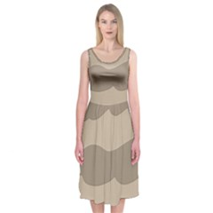 Pattern Wave Beige Brown Midi Sleeveless Dress