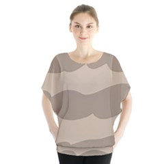 Pattern Wave Beige Brown Blouse
