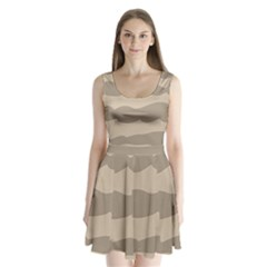Pattern Wave Beige Brown Split Back Mini Dress