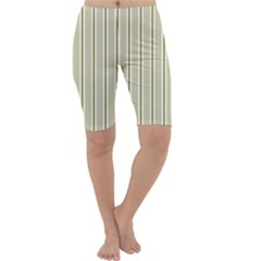 Pattern Background Green Lines Cropped Leggings