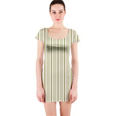 Pattern Background Green Lines Short Sleeve Bodycon Dress