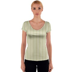 Pattern Background Green Lines Women s V-Neck Cap Sleeve Top