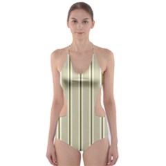 Pattern Background Green Lines Cut Out One Piece Swimsuit