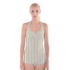 Pattern Background Green Lines Boyleg Halter Swimsuit