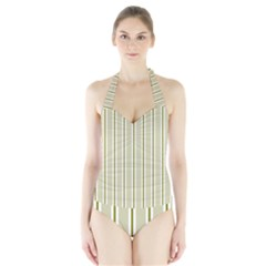 Pattern Background Green Lines Halter Swimsuit