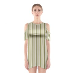 Pattern Background Green Lines Shoulder Cutout One Piece