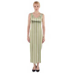 Pattern Background Green Lines Fitted Maxi Dress