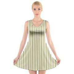 Pattern Background Green Lines V Neck Sleeveless Skater Dress