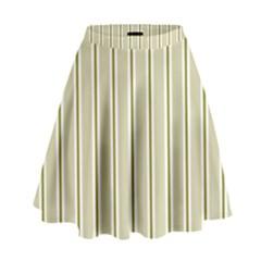 Pattern Background Green Lines High Waist Skirt