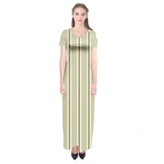 Pattern Background Green Lines Short Sleeve Maxi Dress