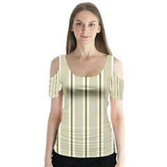 Pattern Background Green Lines Butterfly Sleeve Cutout Tee