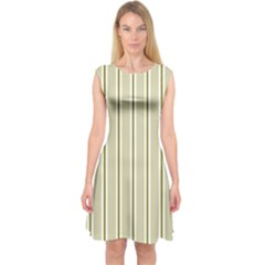 Pattern Background Green Lines Capsleeve Midi Dress