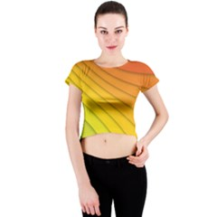 Abstract Pattern Lines Wave Crew Neck Crop Top