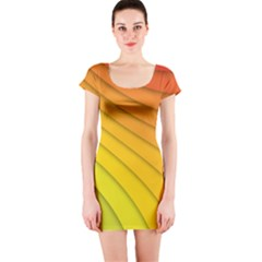 Abstract Pattern Lines Wave Short Sleeve Bodycon Dress