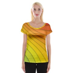 Abstract Pattern Lines Wave Women s Cap Sleeve Top