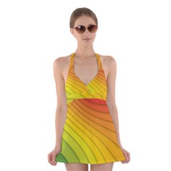 Abstract Pattern Lines Wave Halter Swimsuit Dress