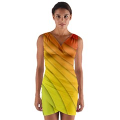 Abstract Pattern Lines Wave Wrap Front Bodycon Dress