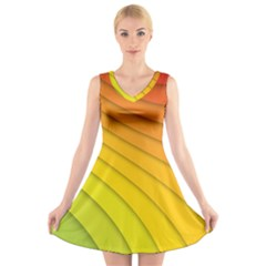 Abstract Pattern Lines Wave V Neck Sleeveless Skater Dress