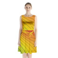 Abstract Pattern Lines Wave Sleeveless Waist Tie Chiffon Dress