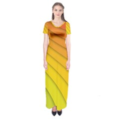 Abstract Pattern Lines Wave Short Sleeve Maxi Dress