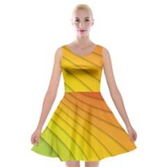 Abstract Pattern Lines Wave Velvet Skater Dress