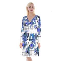Design Long Sleeve Velvet Front Wrap Dress