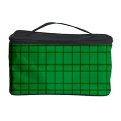 Pattern Green Background Lines Cosmetic Storage Case