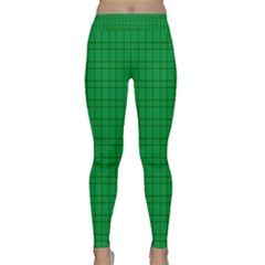 Pattern Green Background Lines Classic Yoga Leggings