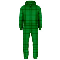 Pattern Green Background Lines Hooded Jumpsuit (Men)