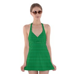 Pattern Green Background Lines Halter Swimsuit Dress