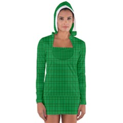Pattern Green Background Lines Women s Long Sleeve Hooded T-shirt