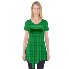 Pattern Green Background Lines Short Sleeve Tunic