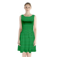 Pattern Green Background Lines Sleeveless Waist Tie Chiffon Dress