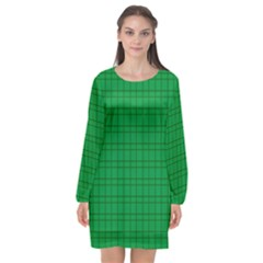 Pattern Green Background Lines Long Sleeve Chiffon Shift Dress