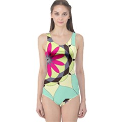 Pink Flower One Piece Swimsuit