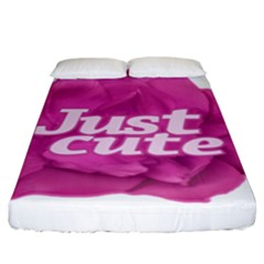 Just Cute Text Over Pink Rose Fitted Sheet (King Size)