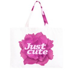 Just Cute Text Over Pink Rose Zipper Large Tote Bag