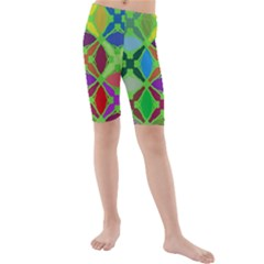 Abstract Pattern Background Design Kids  Mid Length Swim Shorts