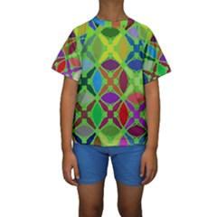 Abstract Pattern Background Design Kids  Short Sleeve Swimwear