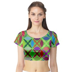 Abstract Pattern Background Design Short Sleeve Crop Top (tight Fit)