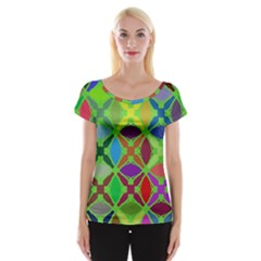 Abstract Pattern Background Design Women s Cap Sleeve Top