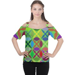 Abstract Pattern Background Design Women s Cutout Shoulder Tee