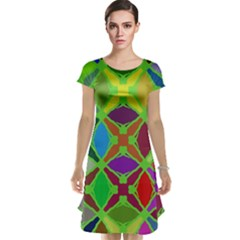 Abstract Pattern Background Design Cap Sleeve Nightdress