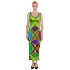 Abstract Pattern Background Design Fitted Maxi Dress